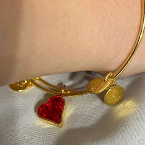Alex ani gold red heart bracelet